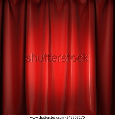 A 3d illustration of stage red curtains with spotlight. Copy space to place your text or logo. - stock photo