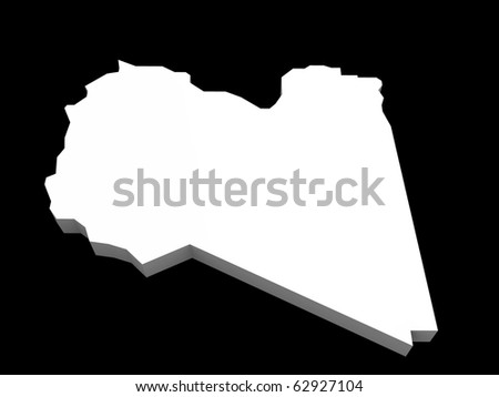 a 3d illustration of the libya map