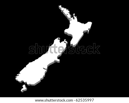 a 3d illustration of the new zealand map