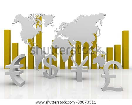 a 3d illustration of trade currencies around the world - stock photo