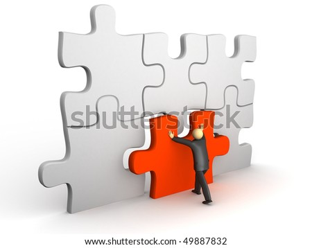 A 3d image of businessman with puzzle and final piece.