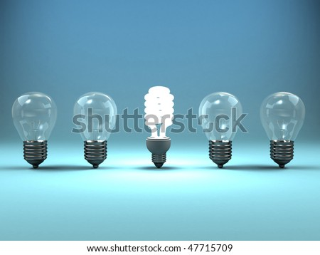 A 3d image of four lamps and one shining luminescent lamp.