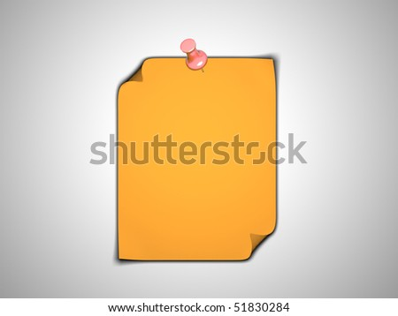 A 3d image of sticky yellow note with push pin.