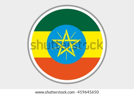 A 3D Isometric Flag Illustration of the country of Ethiopia