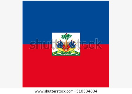 A 3D Isometric Flag Illustration of the country of  Haiti
