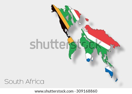 A 3D Isometric Flag Illustration of the country of  South Africa