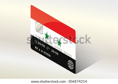 A 3D Isometric Flag Illustration of the country of  Syria - stock photo