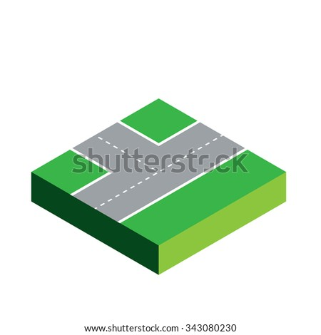 A 3D Isometric Piece Isolated on White Background - Part of a Set of Pieces