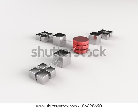 a 3d made network - stock photo
