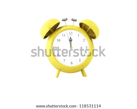 a 3d maded clock on a white background