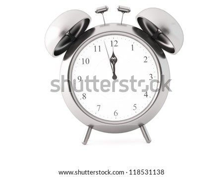 a 3d maded clock on a white background - stock photo