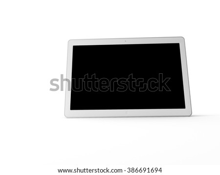 a 3d maded tablet on a white backgroud with a black isolation