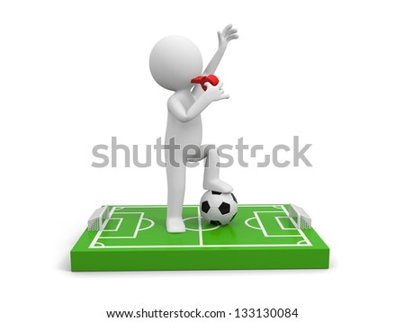 A 3d man Blowing his whistle on a football field model, a football below his foot - stock photo