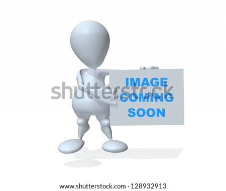 A 3d man holding image coming soon sign