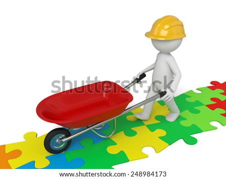 A 3d man in with a red wheelbarrow on some colorful puzzles. Isolated on a white background
