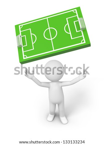 A 3d man looking up at a football field model - stock photo