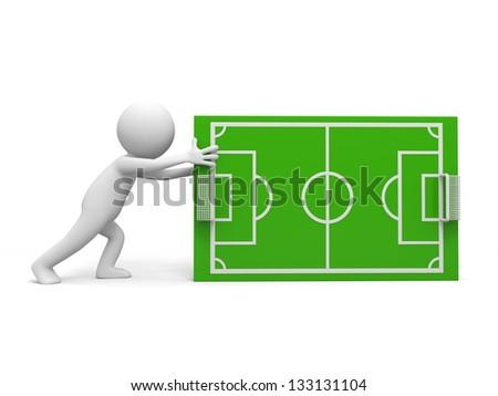 A 3d man pushing the football field model - stock photo