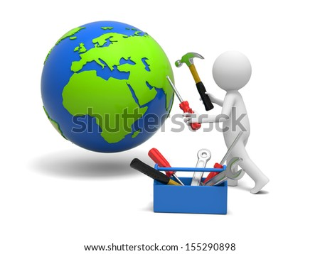 A 3d man repairing the globe with hammer and screwdriver - stock photo