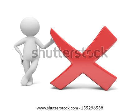 A 3d man standing by red check mark - stock photo