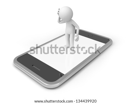 A 3d man standing on a mobile phone - stock photo