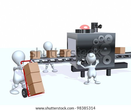 A 3d man supply chain factory assembly line - stock photo