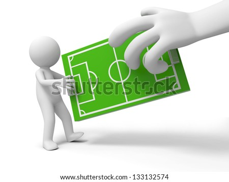 A 3d man taking the football field model from a 3d hand - stock photo