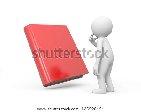 A 3d man thinking face to a red book