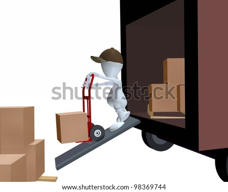 A 3d man unloading a delivery truck using a hand cart - stock photo