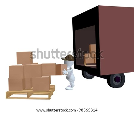 A 3d man unloading a delivery truck with a pallet of boxes - stock photo