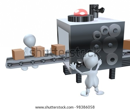 A 3d man worker assembly line - stock photo