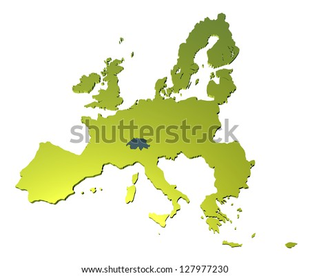 A 3D map of EEC on white background - stock photo