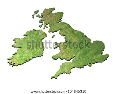 A 3D map of United Kingdom with contours on white background
