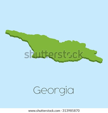 A 3D map on blue water background of Georgia