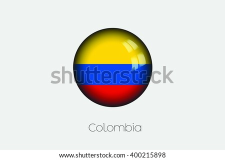 A 3D Orb with a Flag Illustration of Colombia - stock photo