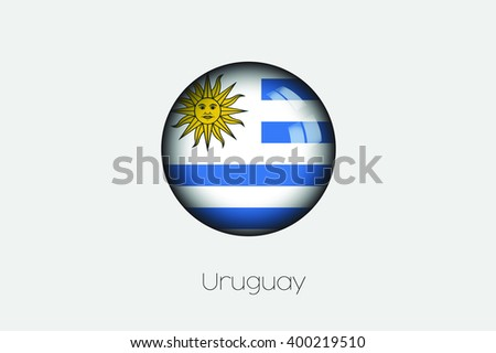 A 3D Orb with a Flag Illustration of Uruguay - stock photo