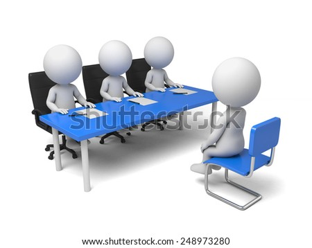 A 3d people have a interview. 3d image. Isolated white background