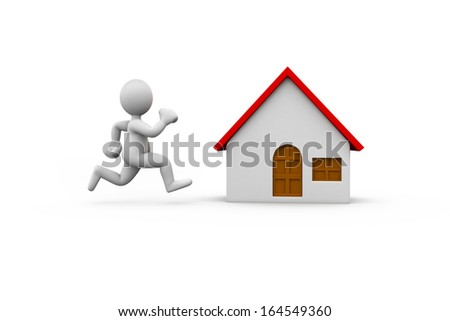 A 3d people running to a house. Isolated on white background. - stock photo