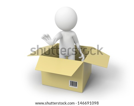 A 3d people standing in a package box - stock photo