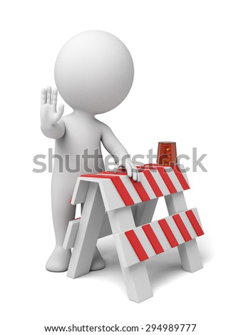 A 3d people with a barricade. Isolated on a white background