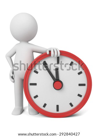 A 3d people with a big clock. 3d image. Isolated white background