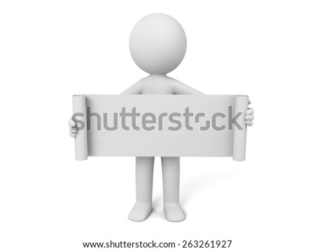 A 3d people with a blank board. 3d image. Isolated white background