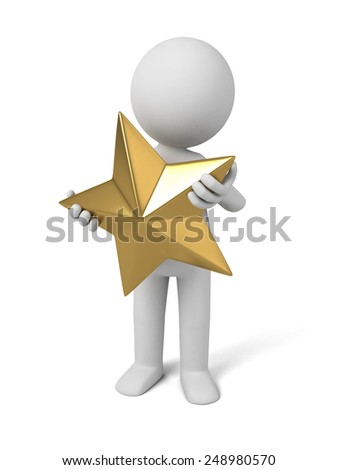 a 3d people with a golden star. 3d image. Isolated white background - stock photo