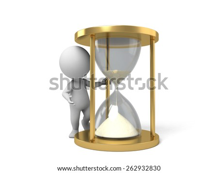 A 3d people with a hourglass. 3d image. Isolated white background - stock photo