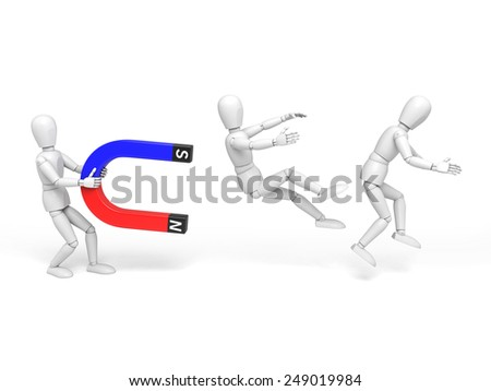 A 3d people with a magnet, To attract talents. 3d image. Isolated white background - stock photo
