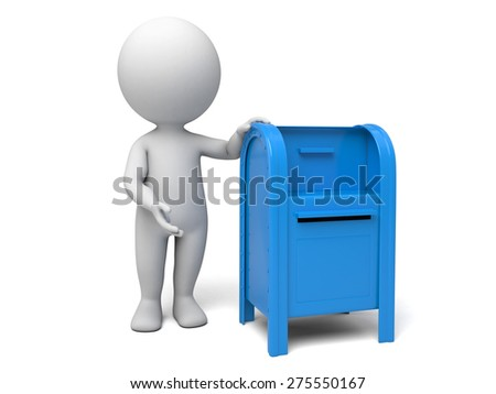 A 3d people with a mailbox. 3d image. Isolated white background