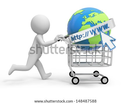 A 3d person/ an internet model in the shopping cart