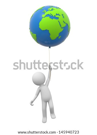 A 3d person holding a global model