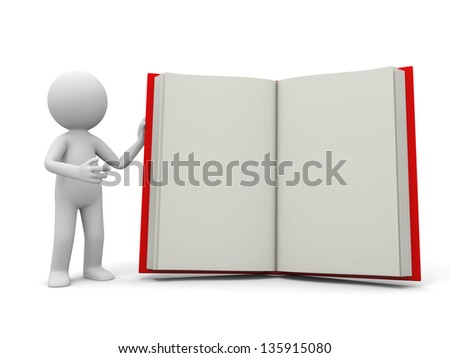 A 3d person introducing the book to the people - stock photo