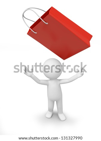 a 3d person looking up at a gift bag