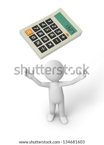 A 3d person looking upon a calculator